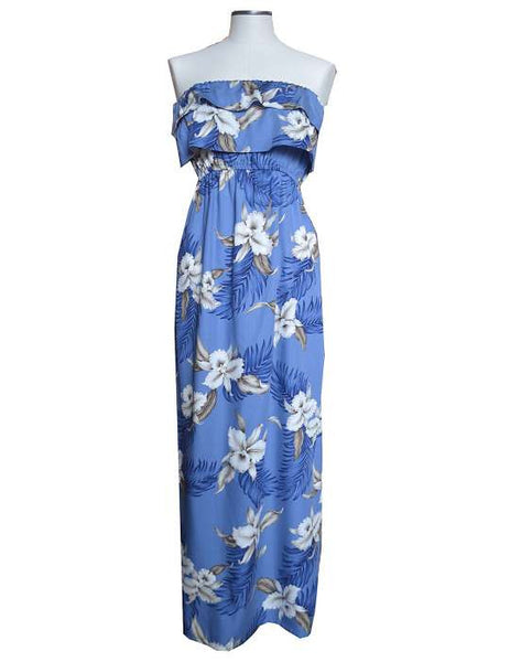 Maxi Strapless Ruffle Overlay Hawaiian Dress - Maka Nani