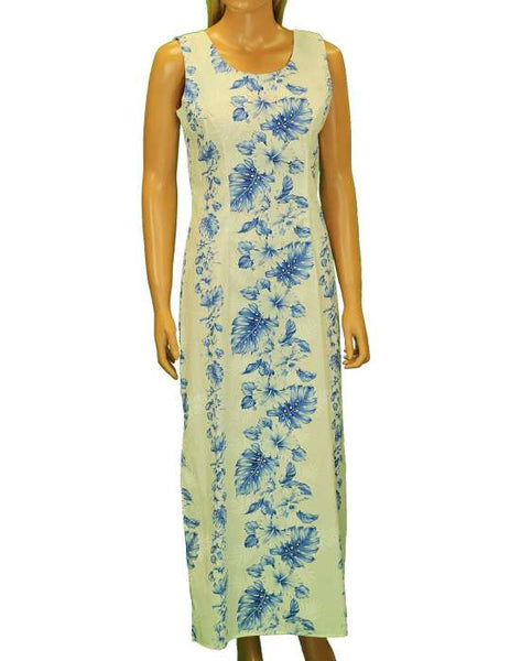 Long Tank Hawaiian White Royal Blue Dress - Haku Laape