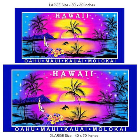 Hawaiian Magical Pink Sunset Beach Towel on Blue
