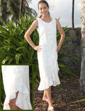 White Honolulu Wedding Tank Strap Mid Length Dress