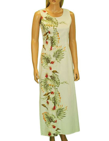 Long Maxi Tank Hawaiian Dress - Side Border Band - Hilo