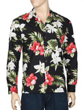 Ko Olina Long Sleeve Aloha Shirt - Black