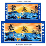 Hawaiian Orange Sunset Beach Towel on Blue