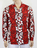 Hawaiian Long Sleeve Aloha Red Shirt