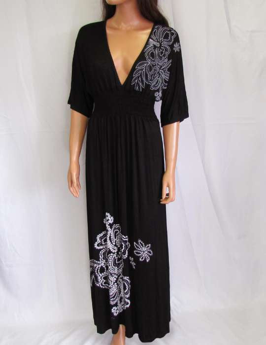 Long Maxi Black Dress With Sleeves Jersey Low Cut Plunging