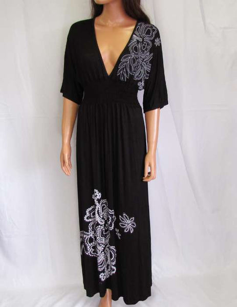 Long Maxi Black Dress with Sleeves - Jersey Low Cut Plunging Neckline