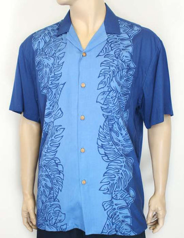Blue Resort Shirt With Island Monstera Panel Design