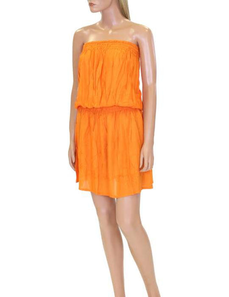One Piece Orange Dress Beach Cover-up Strapless - Makana