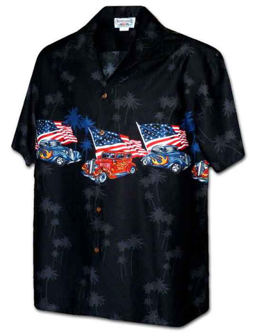 USA Hot Rod Hawaiian Shirt Border Design