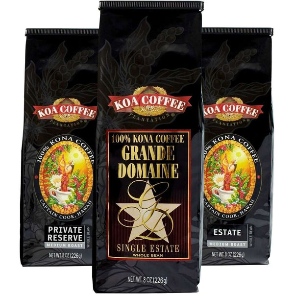 Koa Coffee - Medium Roast Whole Bean Kona Coffee Tri-Pack