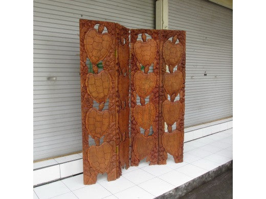 "4-Panel Room Divider 60"" - Hand Carved Turtles - Hawaii Treasure"