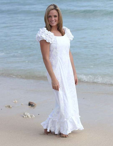 Long Ruffle Muumuus Maxi White Hawaiian Dress