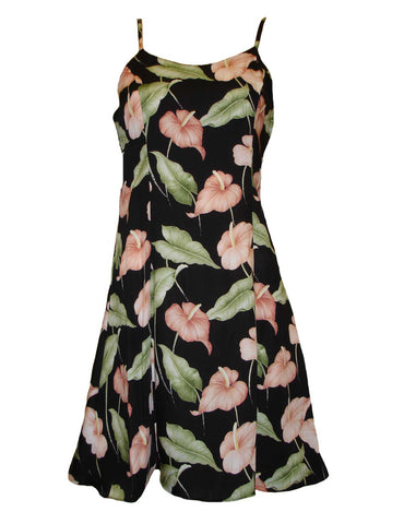 Anthurium Garden Spaghetti Strap Dress in Black