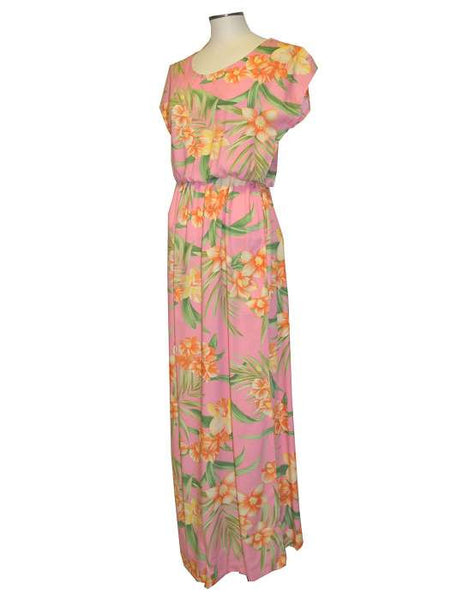 Full Length Rayon Cap Sleeves Dress - Orchids Galore