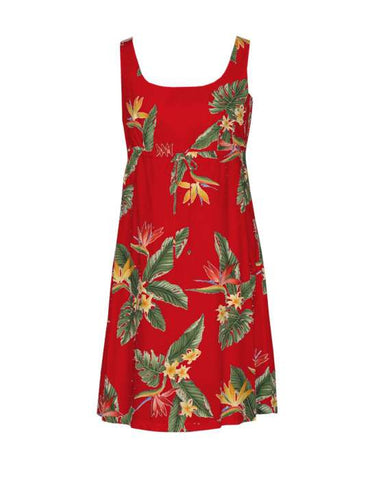 Adjustable Front Tie Dress - Birds of Paradise