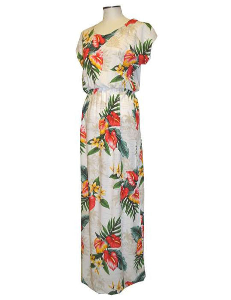 Full Length Hawaiian Rayon Cap Sleeves Dress - Anthurium Galore