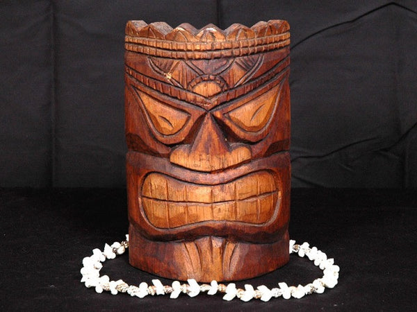 "Love Tiki Mask 8"" - Antique Finish Hand Carved"