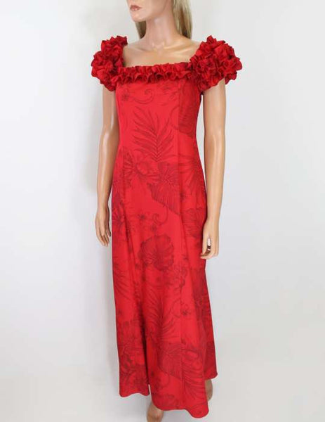 Red Long Ruffle Muumuu Dress Monstera Ceres