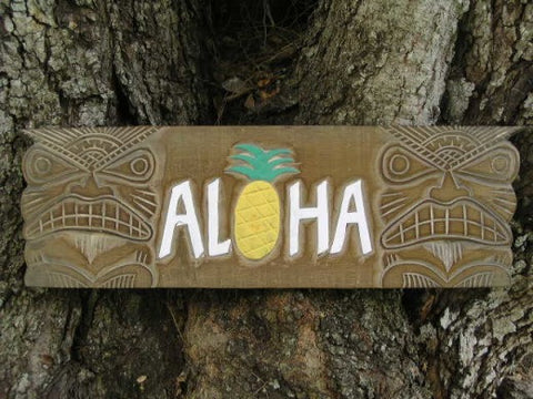 """Aloha"" Pineapple Antique Finish - 24"" - Tiki Sign Bar Decor"
