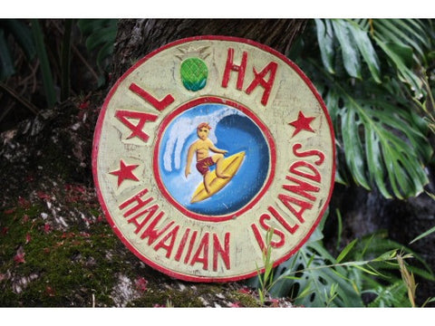"""Aloha Hawaiian Islands"" Vintage Surf Sign - 16"""