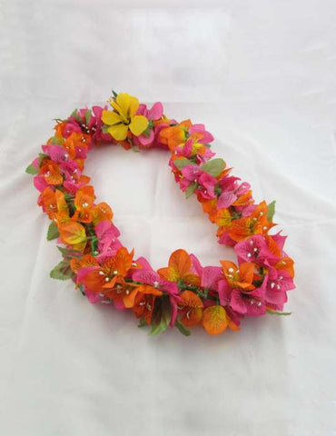 Bougainvillea Silk Orange and Pink Lei