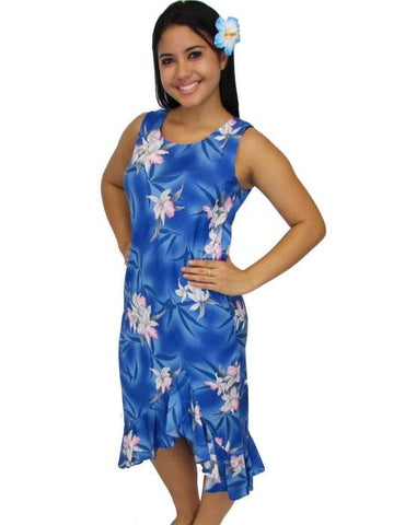 Blue Hawaii Orchids Tank Mid Length Rayon Dress