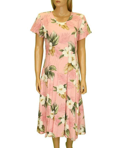 Dressy Rayon Muumuu Dress Hibiscus Jungle with Sleeves