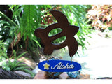 """Aloha"" with Plumeria & Turtle Wooden Sign - Hawaiian Decor"