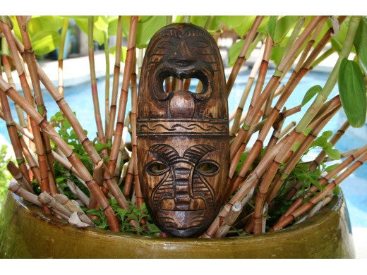 "Fijian Tiki Mask - 12"" Love And Prosperity - Hand Carved"