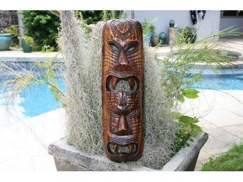 "Fijian Tiki Mask W/  2 Deitties - 20"" Evil Hunter - Polynesian Art"