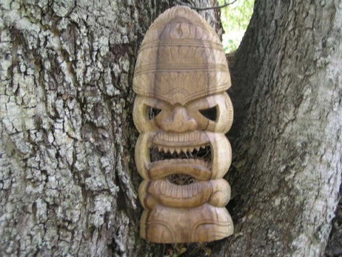 "Tiki Mask Carved  - 18"" - Hawaiian Tiki God"