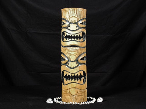 "Bamboo Double Headed Mask 20"" - Island Decor"