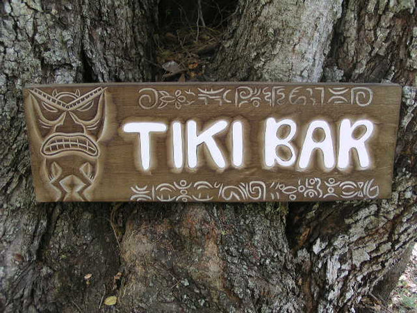 """Tiki Bar"" Tiki Sign W/ Petroglyph - Surf Decor"