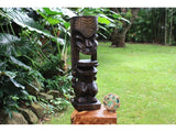 "Warrior Ku Tiki Sculpture 26"" Hawaii Stained - Hand Carved"