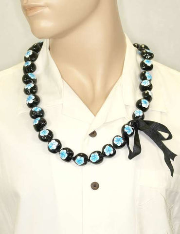 Hand Painted Blue Flower Polished Kukui Nut Candlenut Lei