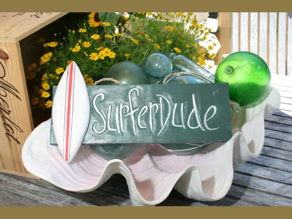 """Surfer Dude"" Surf Sign 14"" - Coastal Decor"
