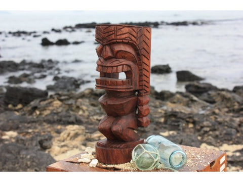 "Carved Ku Tiki 12"" - Stained Monkey Pod - Island Art"
