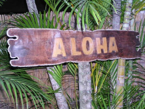 """Aloha"" Sign Driftwood w/ Rope 40"" - Tropical Decor"