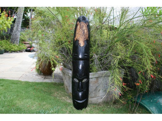 "Fijian Tiki Mask W/ Turtles - 40"" Winner Tiki - Hawaiian Decor"