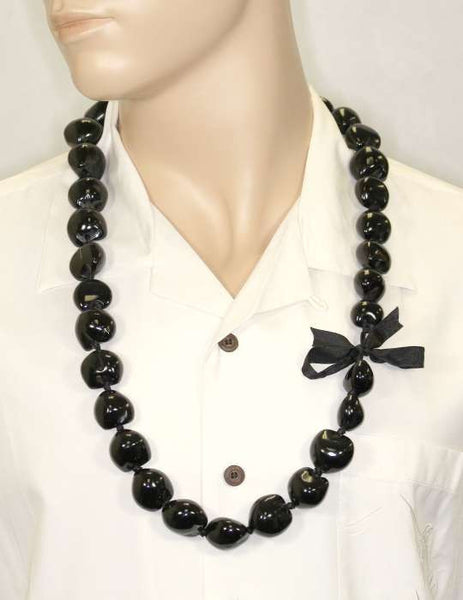 Black Polished Kukui Nut Candlenut Lei