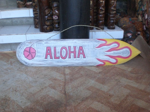 "Aloha Wooden Surf Sign 40"" Wall Art - Rustic Finish"