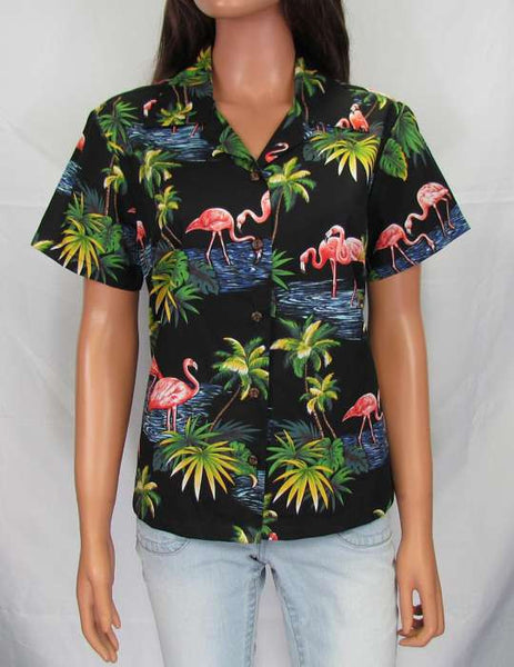 Women's Hawaiian Fitted Blouse - Flamingo