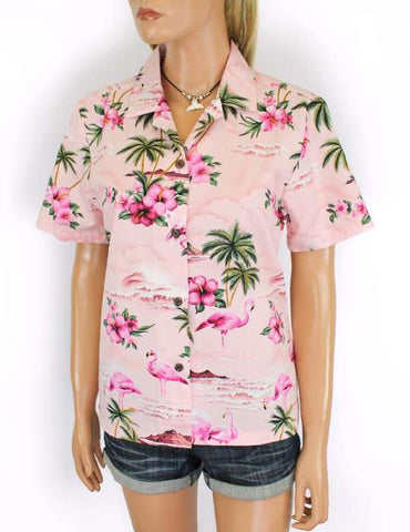 Aloha Shirt for Women - Florida Flamingos