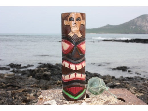 "Tiki Totem 10"" w/ Cross Bone - Hand Carved & Painted"