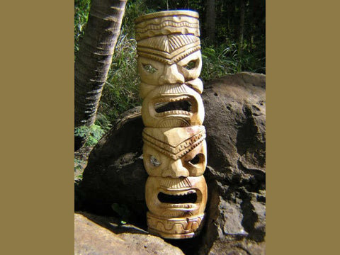 "Double Headed Mask 40"" - Acacia Wood - Love and Prosperity"