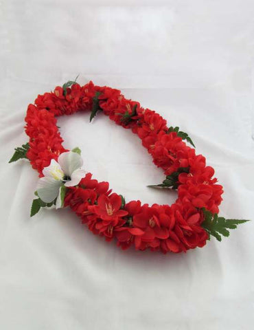 Red Shell Flower Ginger Silk Lei