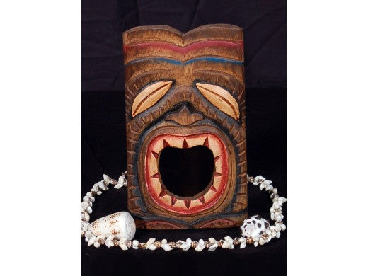 "Laughing Tiki Mask 8"" - Wall Plaque Hand Carved"