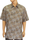 Beige Block Monstera Cotton Dress Up Shirt