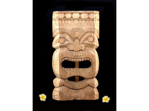 "Tiki Mask Carved  - Natural Acacia Koa 18"" - Hawaiian Tiki God"