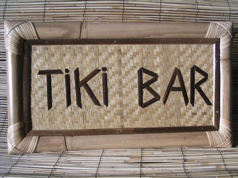 "Bamboo Tiki Sign ""Tiki Bar"" - Tiki Bar Decor"